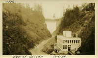 Lower Baker River dam construction 1925-12-06 View of Canyon (with powerhouse foreground, dam in background)