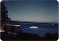View across water of ferry landing at Goosberry Point with Mt. Baker in the distance