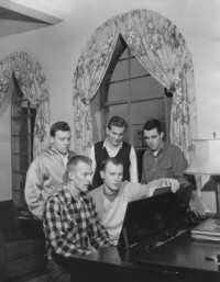 1950 Men's Residence Hall: Students Playing Piano
