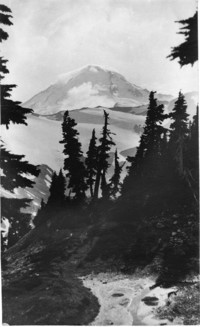 View of snow-covered Mount Baker from perhaps the Cougar Divide or Skyline Divide trail