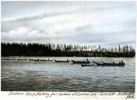 """Indians Reef Netting for Salmon at Lummi Island, June 1898"""