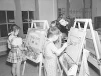 1948 Five Year Olds With Paint and Brush
