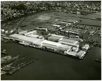 Aerial view of industrial waterfront, log ponds,  and boat marina, on shore of Bellingham, WA
