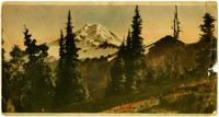 Hand-colored photo print of Mt. Baker and mountain meadow