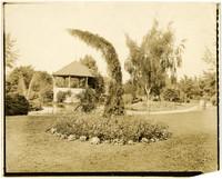 A bandstand next to a pond in Elizabeth Park, Bellingham, WA