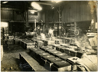 Interior of Evertz Bronze Works showing molding process