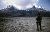 Bill Eppridge, Sports Illustrated photographer, looking toward mountain from pyroclastic flow.