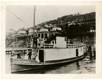 "About a dozen men, women, children on decks of small steamer ""Brick"" docked at pier below steep hill"
