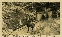 Lower Baker River dam construction 1925-02-12 Setting Forms for Run #13- small pipes in concrete, anchor form work
