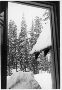 View from cabin to snow
