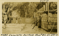 Lower Baker River dam construction 1925-04-27 Concrete Surface Run #86 El.251.3