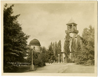 Bell tower, campus pathways, and dome of observatory on University of Washington campus