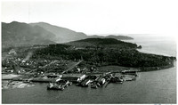 Aerial view of waterfront , south Bellingham, Washington, with Puget Sound waters and Chuckanut mountains in distance