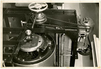 Close up of components of skinning machine used in fish canning