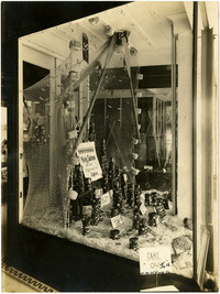 Retail window display of canned king salmon