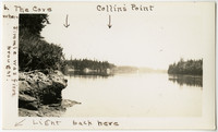 View from shore of quiet waters on cove with forested banks