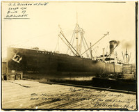 Massive merchant steamer S.S. Alaskan docked at Pacific American Fisheries, Bellingham, WA