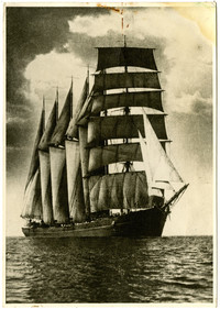 "Barquentine ""E.R. Sterling"" off Waitemata Harbor, Auckland, New Zealand"