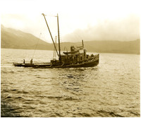 Fully-laden fishing vessel of the Pacific American Fisheries (PAF) fleet in waters with mountains in distance