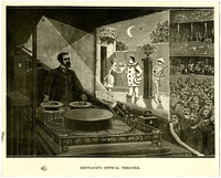 "A pen and ink drawing of""Reynaud's Optical Theater,"" showing a man manipulating two circular drums on a flat surface with optical equipment projecting a skit on a screen with an audience seated on the other side"