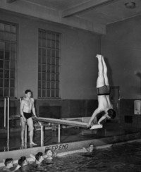 1945 Boys In Pool With Leonard Barnhill And Paul Foster, Student Teachers