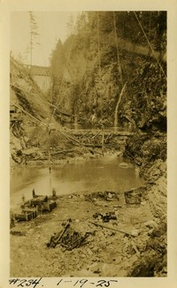 Lower Baker River dam construction 1925-01-19 Dam site (w/pipes)
