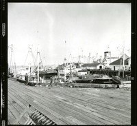 View of fishing boats and a steamship