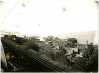 View westward along Boulevard and Great Northern Railroad tracks to Bloedel-Donovan Mill and Templin Flour & Feed