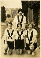 Fairhaven High School cheerleaders pose outside school