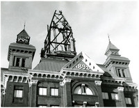 View looking up at roof of Bellingham City Hall with charred skeleton of fire-damaged main cupola