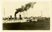 """Steam vessels """"Chippewa"""" and """"Iriquois"""" at unidentified dock"""