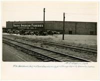 Railroad tracks run past Pacific American Fisheries' Bellingham Warehouse No. 7