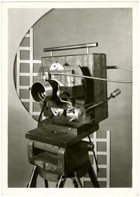 Large camera on tripod on display