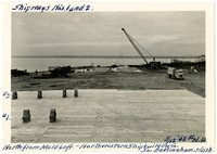 Northwestern Shipbuilding Company - new wooden platform with shipways on it in foreground