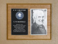 """Hall of Fame Plaque: C.W. """"Bill"""" McDonald, Administrator, Coach, Class of 1976"""