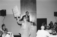 1993 Reunion--WWU President Karen Morse Displays Ceremonial Check At Banquet
