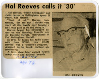 Laminated newspaper clipping with photograph of Hal Reeves and text about his retirement