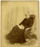 An elderly Mrs. Henry Roeder seated in formal studio portrait