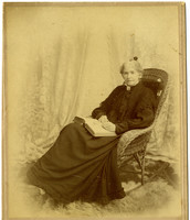 An elderly Mrs. Henry Roeder seated in formal studio portrait