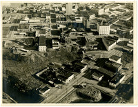 Aerial view of downtown Bellingham with the intersection of Holly and Central in the lower foreground