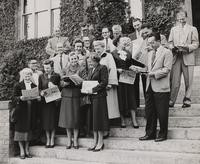 1955 New Faculty on the Steps of the Main Building