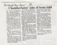 Chamberlain's side of issue told