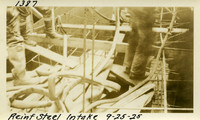 Lower Baker River dam construction 1925-09-25 Reinf Steel Intake