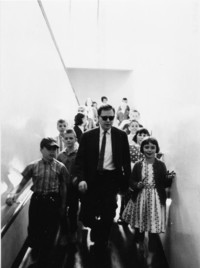 1965 Leslie Crawford and Students on One of Campus School's Ramps