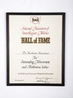 General Certificate: NAIA Hall of Fame certificate for Outstanding Achievement and Meritorious Service for Dr. Herbert Hearsey, 1975