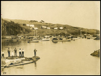 Several men stand on small rocky spit at mouth of small bay where a number of small fishing boats are moored