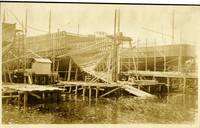 Pacific American Fisheries shipbuilding - view from water of ships under construction