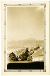 View of rooftops and city of Lucerne, Switzerland, from watch tower on old city wall