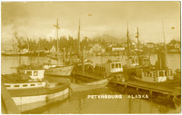 Fishing fleet moored in harbor of Petersburg, AK