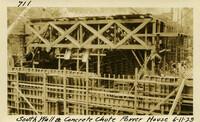 Lower Baker River dam construction 1925-06-11 South wall & Concrete Chute Power House